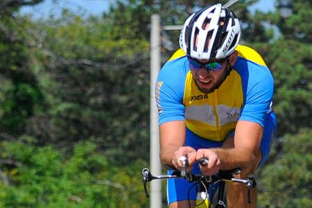 26 september, 2017 Toronto, Canada - Oekraïense fietser Oleksandr Kopvoorn, tijdens de Weg van Mensen het Cirkelen IRB3 Tijdproef - Definitief Toronto Invictus Cycling bij Hoog Park in Toronto, ON, Canada. Redactioneel