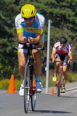 September 26, 2017. Toronto, Canada - Ukrainian cyclist Serhii Molodid, during Mens Road Cycling IRB3 Time Trial - Final Toronto Invictus Cycling at High Park in Toronto, ON, Canada. Editorial