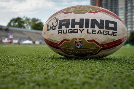 September 02, 2017. Toronto, Canada - Ball on the field during Super 8s Round 4 game between Toronto Wolfpack (Canada) vs Whitehaven RLFC (United Kingdom) at Allan A. Lamport Stadium in Toronto, Canada