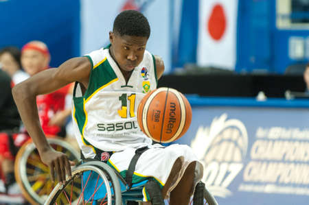 June 10, 2017 - Toronto, Ontario, Canada – Ayabonga Jim on the field during the basketball game - South Africa vs Japan during 2017 Men's U23 World Wheelchair Basketball Championship which takes place at Ryersons Mattamy Athletic Centre, Toronto, ON,