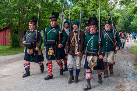 TORONTO – JUNE 17, 2017: Soldiers at the battle of Black Creek revolutionary war re-enactment in Black Creek Pioneer village in June 17, 2017 in Toronto, Canada