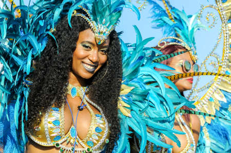 TORONTO, ON, Canada - AUGUST 04: Masqueraders take part in the Toronto Caribbean Carnival Grand Parade at Exhibition Place Redactioneel