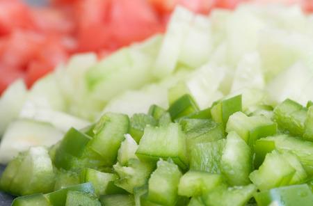 Diced green pepper, and other vegetables. Reklamní fotografie