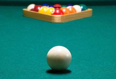 Cue ball, and rack, on a pool table