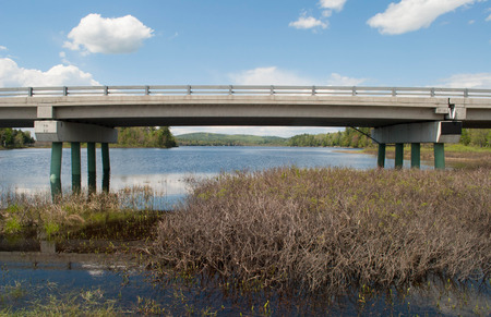 A bridge, crossing over a wetland area, on the edge of a lake.