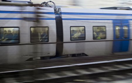Train with commuters