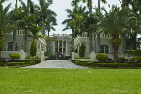 Mansion  and palm trees