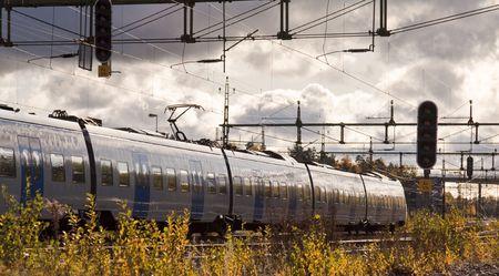 Train passing through photo