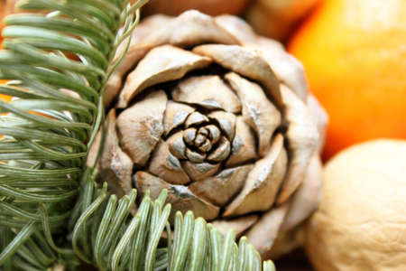 Pine cones, peanuts. In background orange and spruce branch. Christmas and New Year theme. It festive theme. Food. Snack. Background. Macro. Electoral focus. Copy space for text. Blurring background.