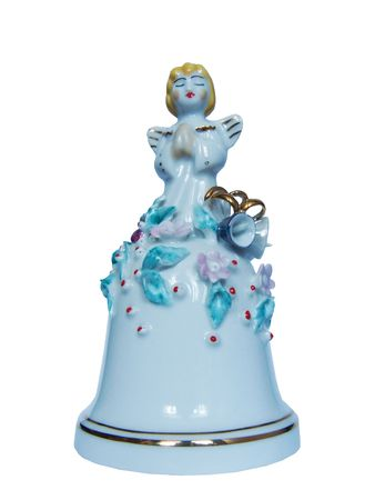 hand bell: Beautiful snow-white Christmas angelic hand bell Stock Photo