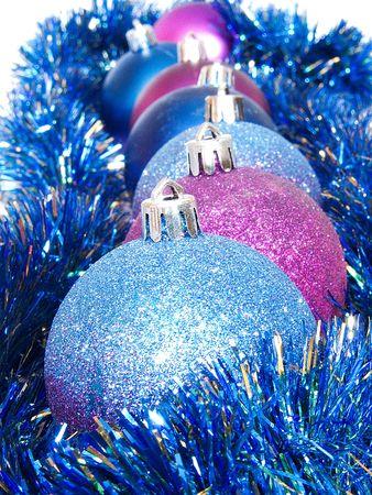 Many beautiful multi-coloured New Years balls