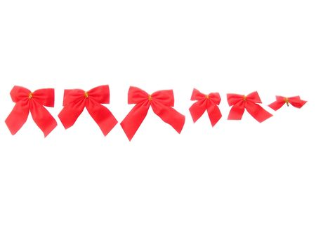 Six beautiful red Christmas ribbons different in the size