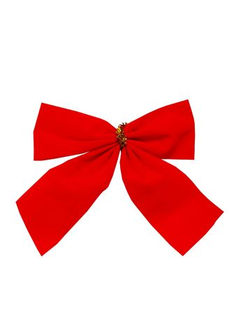 Beautiful red New Years bow on a white background