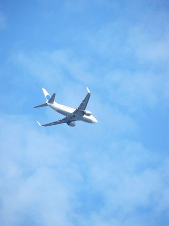 plane flying highly in the blue sky