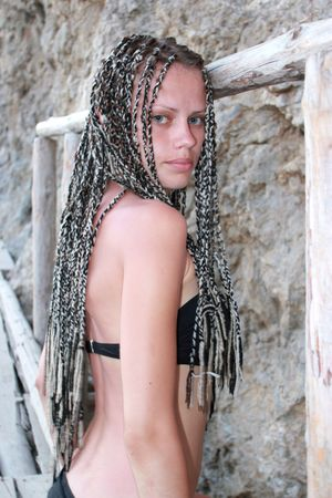 beautiful young girl with the African plaits photo