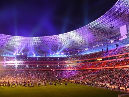 stadium: DONETSK, UKRAINE - AUGUST 29: Night view of the opening of Shakhtar Donetsks new soccer stadium August 29, 2009 in Donetsk, Ukraine