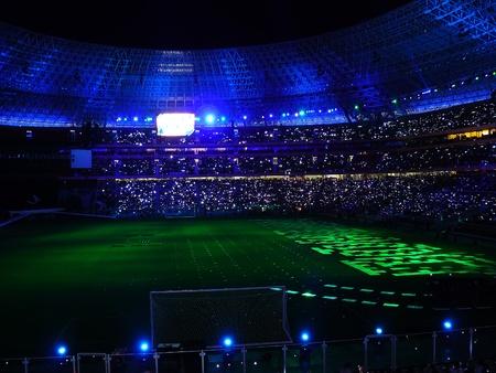 DONETSK, UKRAINE - AUGUST 29: Night view of the opening of Shakhtar Donetsks new soccer stadium August 29, 2009 in Donetsk, Ukraine