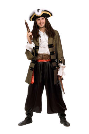 Young man in a pirate costume with pistols photo