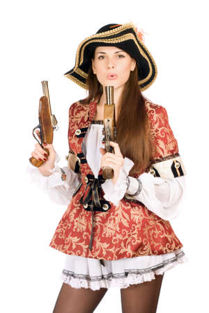 Young pretty woman with guns dressed as pirates photo