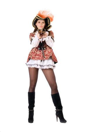 mujer pirata: Joven mujer perfecta con armas de fuego disfrazados de piratas
