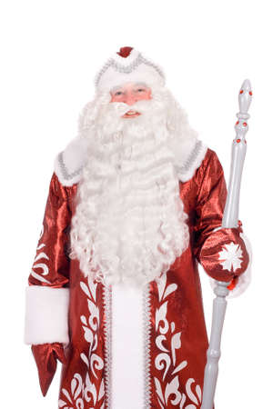 'ded moroz': Portrait of a Russian Christmas character Ded Moroz (Father Frost) with the stick in his hands