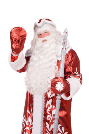 ded moroz: Portrait of a Ded Moroz (Father Frost) with the stick in his hands Stock Photo