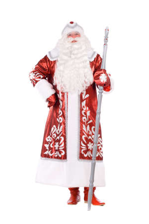 ded moroz: Ded Moroz (Father Frost) with the stick in his hands. Isolated on white Stock Photo