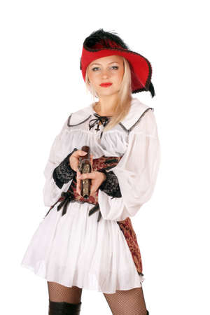 Young charming blonde with gun dressed as pirates photo
