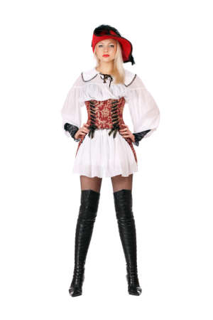 Young attractive blonde dressed as pirates. Isolated photo