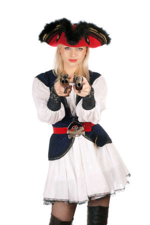 Beautiful young blonde with guns dressed as pirates photo