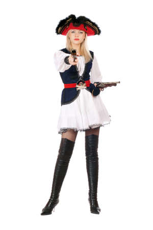 Attractive young blonde with guns dressed as pirates photo