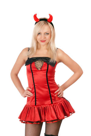 Nice blonde is wearing a sexy devil costume photo