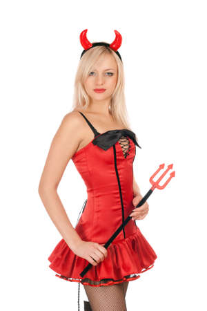 Pretty blonde is wearing a sexy devil costume