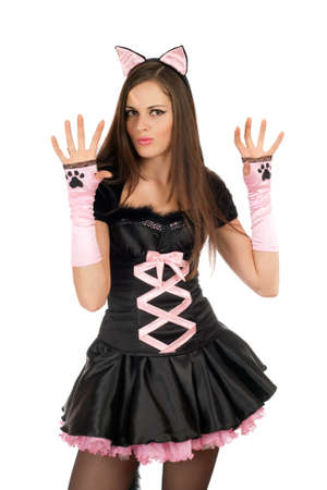 Pretty girl is wearing a sexy cat costume photo