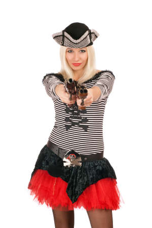 Charming girl with guns dressed as pirates photo