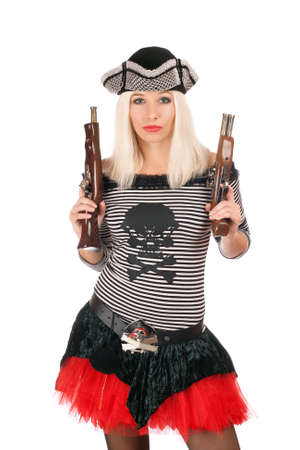 female pirate: Beautiful girl with guns dressed as pirates