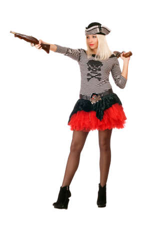 Pretty young blonde with guns dressed as pirates photo