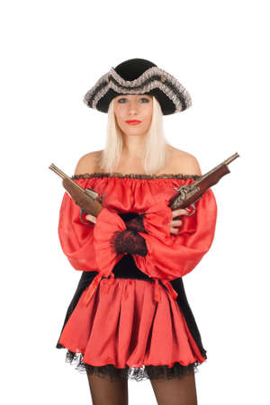 Nice young blonde with guns dressed as pirates photo