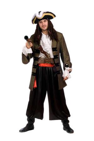 piratenhoed: Jonge man in een piraat kostuum met pistool. Geïsoleerd Stockfoto