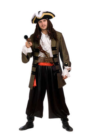 theatre costumes: Young man in a pirate costume with pistol. Isolated