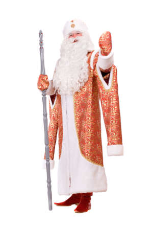 'ded moroz': Russian Christmas character Ded Moroz (Father Frost) with the stick in his hands