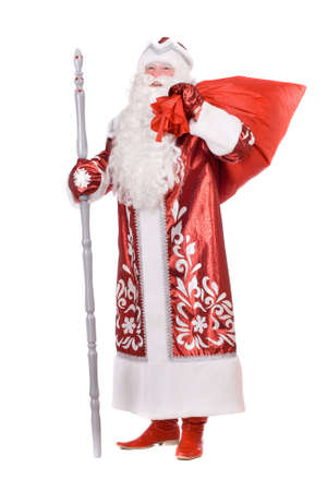 'ded moroz': Ded Moroz (Father Frost) with the bag of Christmas gifts