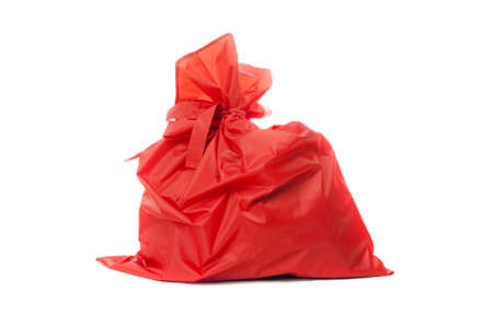 ded moroz: Red bag of Christmas gifts. Isolated on white Stock Photo