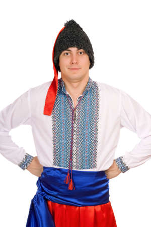 Hombre joven en el traje nacional de Ucrania Foto de archivo - 11960224