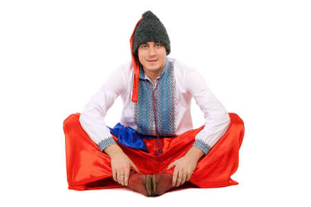 Young man in the Ukrainian national costume. Isolated