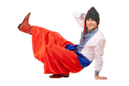 papakha: Smiling young man in the Ukrainian national costume