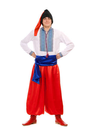 Young man in the Ukrainian national costume. Isolated on white