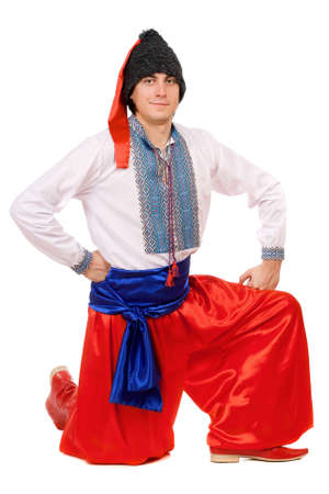 Guy in the Ukrainian national costume. Isolated on white photo