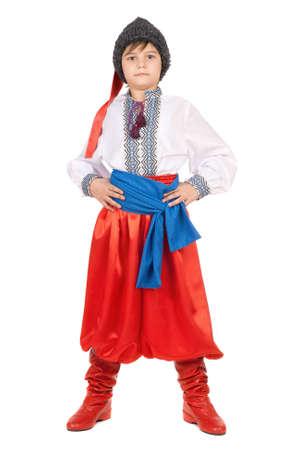 Boy in the Ukrainian national costume. Isolated on white background photo