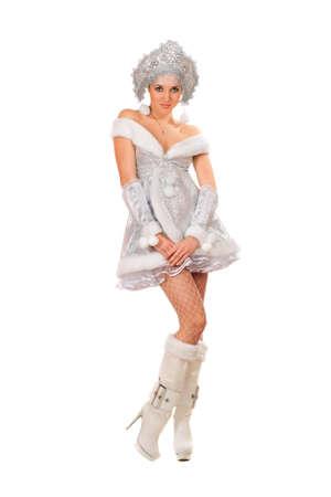 kokoshnik: Playful young woman dressed as Snow Maiden
